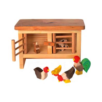 hasen und h hnerstall aus holz holzspielzeug bauernhof. Black Bedroom Furniture Sets. Home Design Ideas