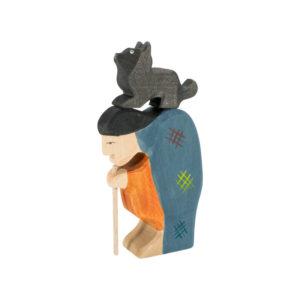Holzspielzeug - Hexe mit Katze