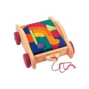 Holzspielzeug - Bauwagen mit Klötzen