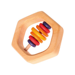 Holzspielzeug – Baby-Rassel & Beißring Sechseck